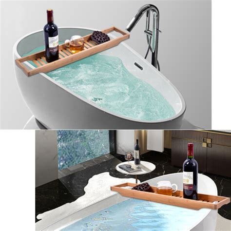 Other Gadgets  Bathroom Bamboo Bath Shelf Caddy Wine