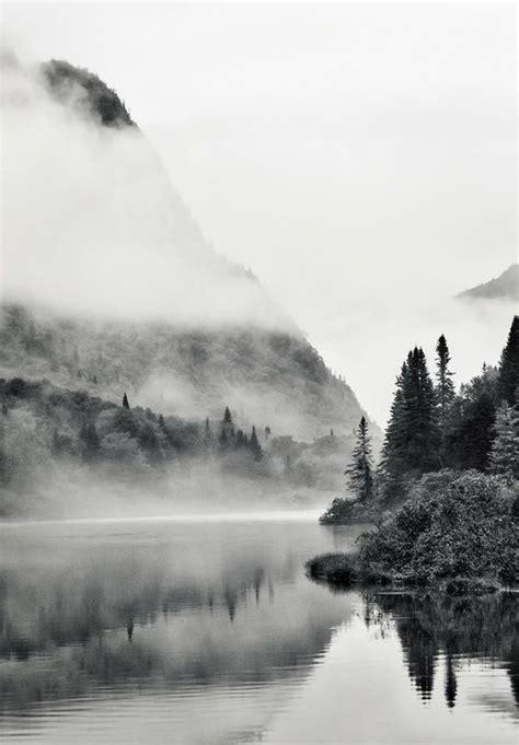 black  white mountain side river fog photography