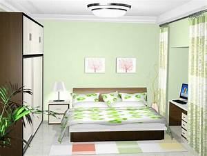 Light Green And White Bedroom With Yellow Cream Trim ...