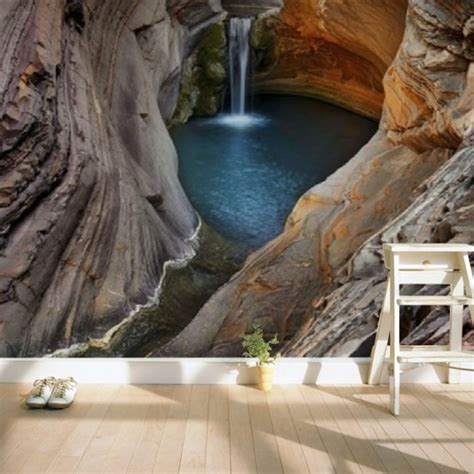 custom european style landscape cave waterfall photo mural