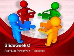 Teamwork 3d Men With Jigsaw Puzzle Pieces Business Ppt