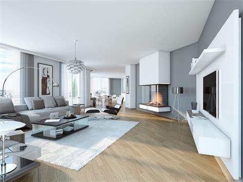Moderne Häuser Wohnzimmer by Villengarten Wohnungen Einrichtung