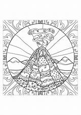 Volcano Coloring Adults Stress Adult Anti Teens Complex Drawing Sheets Zen Printable Zentangle Shield Mandala Volcanic Doodle Volcanoes Nature Drawings sketch template