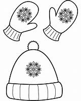 Coloring Winter Hat Mittens Popular sketch template
