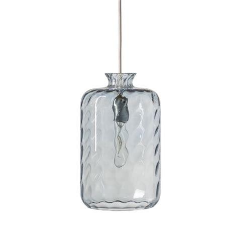 suspension cuisine verre suspension pillar verre soufflé transparent bleu