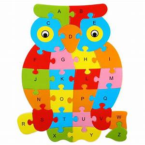 Wooden alphabet puzzle free shipping worldwide for Letter puzzles for toddlers