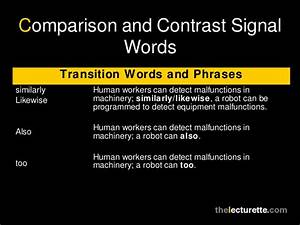 Transition Words For Contrast Comparison Contrast Essay