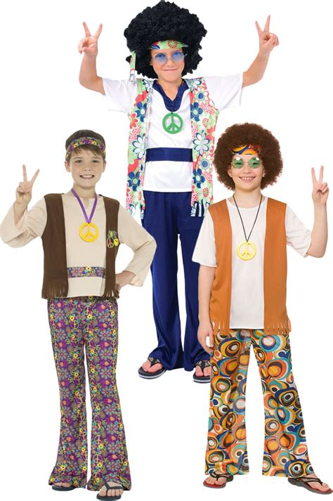 Hippy Boys Fancy Dress 60s 70s Peace Groovy Hippie
