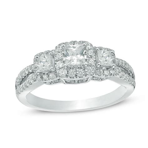 1 ct t w princess cut frame three vintage style engagement ring in 14k white