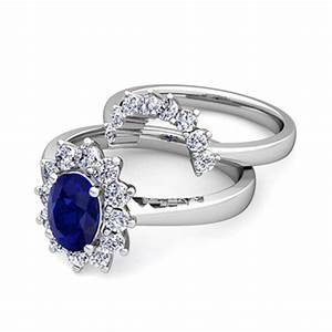 diamond and sapphire diana engagement ring bridal set 14k With sapphire wedding rings sets