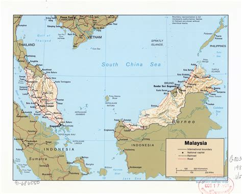 large detailed political map  malaysia  relief