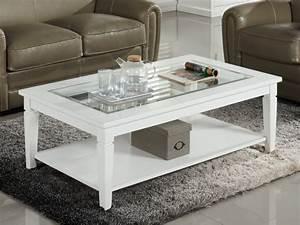 Table Basse Pin : table basse guerande plateau en verre tremp pin blanc ~ Teatrodelosmanantiales.com Idées de Décoration
