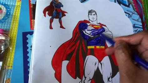 color superman cartoon drawing kids activity colors