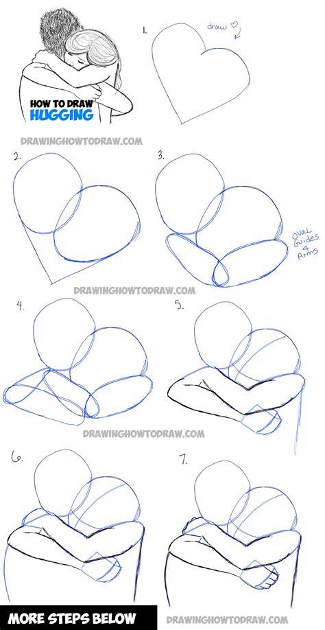 draw  people hugging drawing hugs step  step