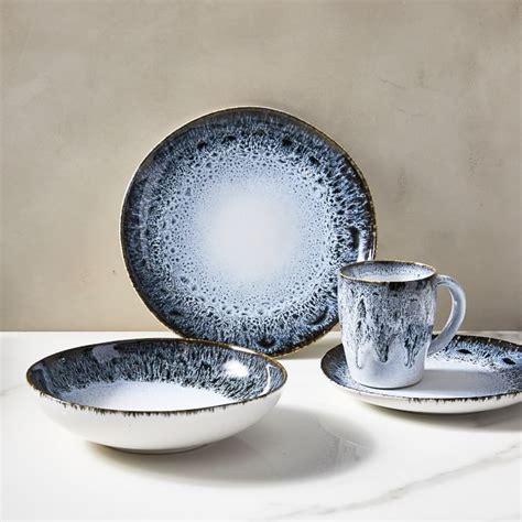dinnerware reactive glaze sets stoneware dinner ceramic plates dining kitchen west elm piece westelm