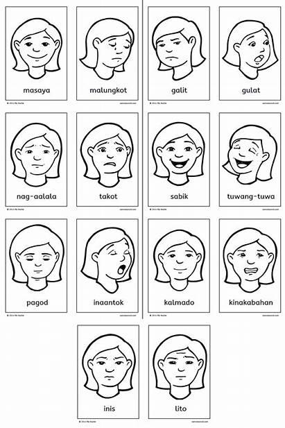 Feelings Damdamin Flashcards Mga Chart Different Samutsamot