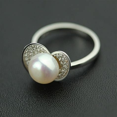 diamant finger classic pearl jewelry 925 sterling silver watercress flower ring cz zircon finger ring bague