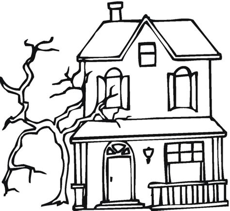 printable haunted house coloring pages  kids