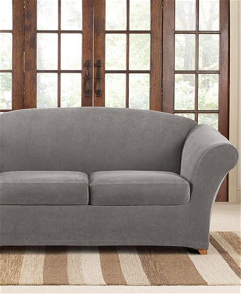 macys sofa covers sure fit stretch pique 2 cushion loveseat slipcover