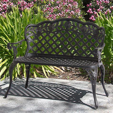 Patio Garden Bench Cast Aluminum Outdoor Garden Yard Solid