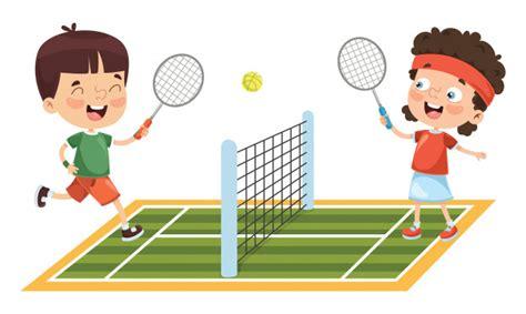illustration  kid playing tennis vector premium