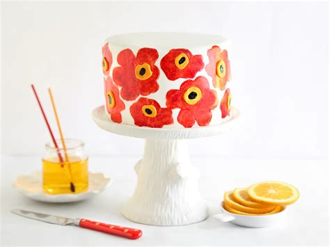 Orange Poppy Seed Marimekko Cake - Sprinkle Bakes