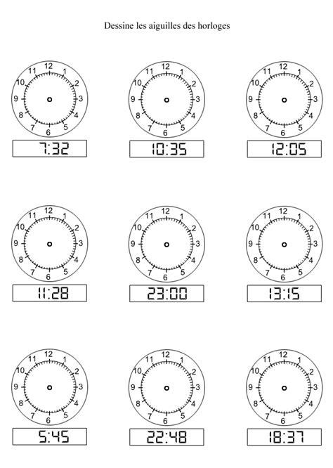 Modification De L Heure by Apprendre 224 Lire L Heure Dessiner Les Aiguilles Sur Les