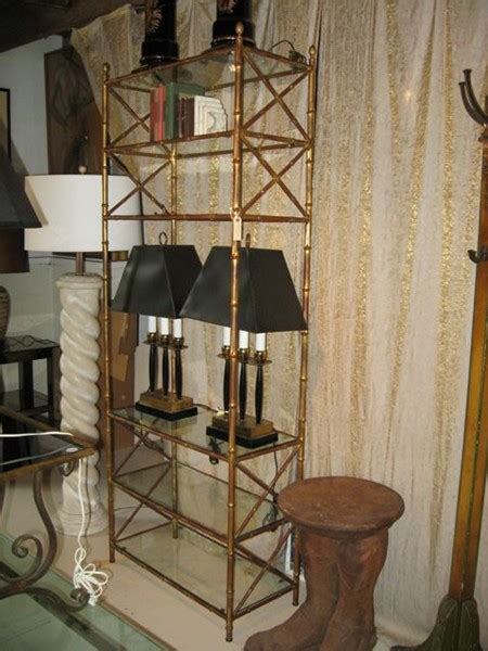 Bamboo Etagere by Gilt Metal Faux Bamboo Etagere