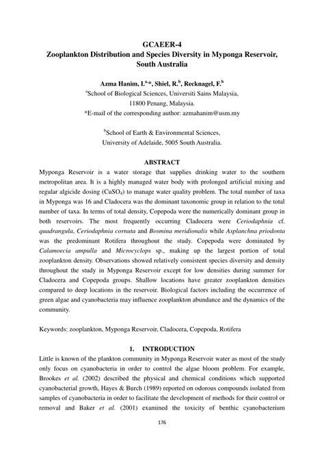 zooplankton distribution australia myponga south diversity reservoirs species pdf