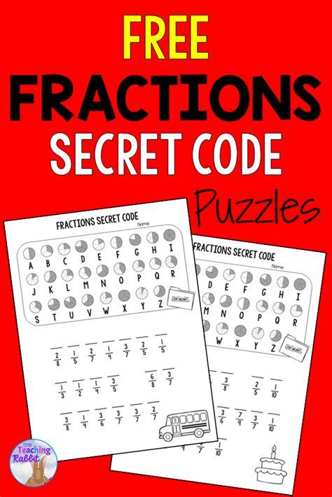 fractions secret code worksheets  images fun math