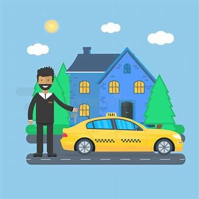 Cab Taxi Driver Machine Yellow Flat Drive