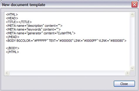 html document default html template