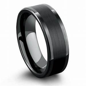 Black tungsten ring with a brushed pipe design northern for Tungsten wedding ring reviews