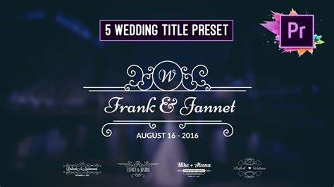 free animated wedding title preset premiere pro motion graphic template youtube
