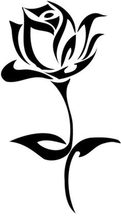 Black Thick Outline Tribal Rose Tattoo Design