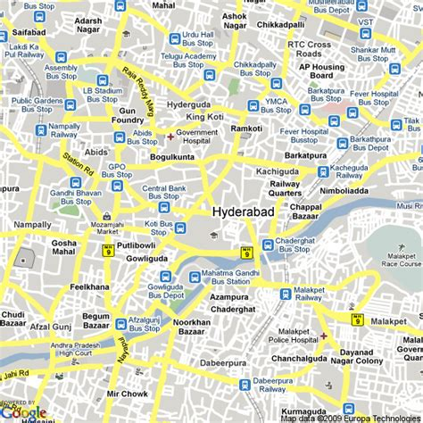 map  hyderabad india hotels accommodation