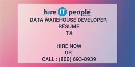 Data Warehouse Developer Resume by Data Warehouse Developer Resume Tx Hire It We Get It Done