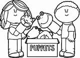 Puppet Coloring Pages Puppets Playing Marionette Theater Box Printable Getdrawings Getcolorings Wecoloringpage Fresh sketch template