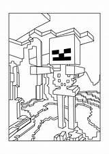Skeleton Minecraft Coloring Printable sketch template