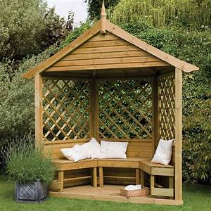 Majestic Corner Wooden Lattice Garden Arbour With Bench