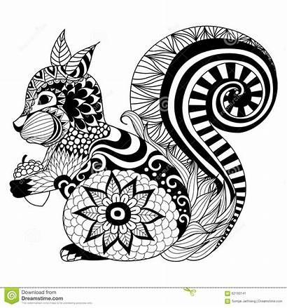 Tattoo Zentangle Shirt Coloring Squirrel Hand Drawn