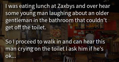 man finds elderly veteran crying   bathroom  hears