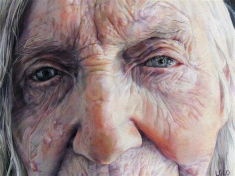 Old woman in colored pencil