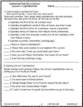 grammar worksheets and tests grade 6 no prep printables