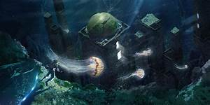 Matte Painting Underwater And Jellyfishes