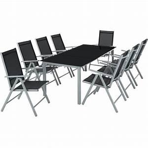 Table Pliante Avec Chaise : salon de jardin avec 8 chaises pliantes et 1 table en verre et en aluminium gris noir 1 tectake ~ Teatrodelosmanantiales.com Idées de Décoration