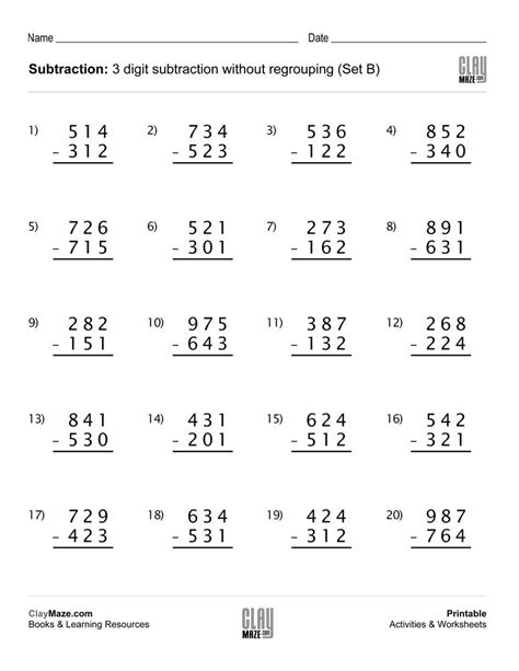 3rd grade math adding worksheet 3 digit subtraction worksheet no regrouping no