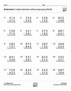 Subtraction Worksheet  U2013 3 Digit Subtraction Without