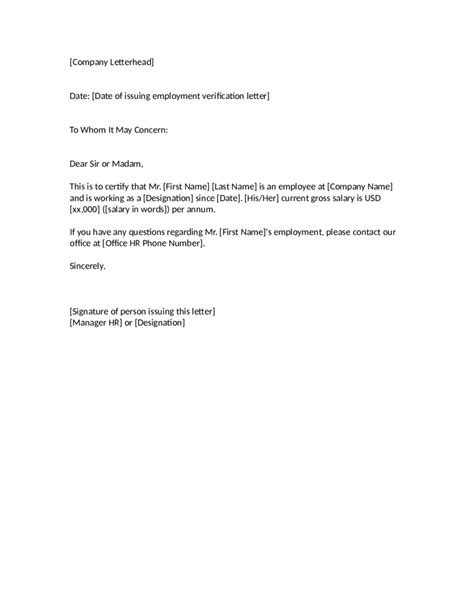 proof  employment letter sample employment