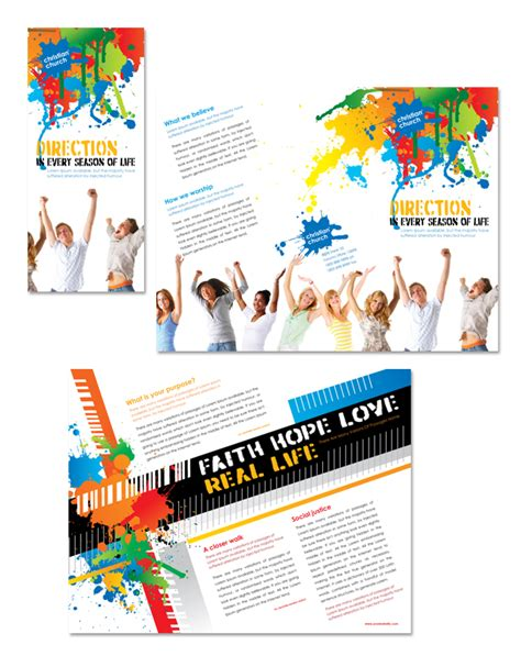 christian church youth ministry tri fold brochure